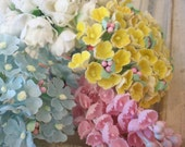 Vintage / Millinery Floral Sampler / Fabric Flowers / Rosebuds, Lily of the Valley, Hydrangea and Forget Me Nots