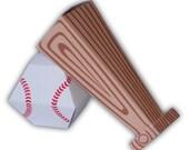 Baseball Set Bat and Ball Sports Gift Box Favor Party Printable Color Templates Digital PDF
