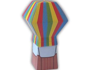 Rainbow Hot Air Balloon Digital PDF Gift Box DIY Favor Printable Color Template (custom colors available)