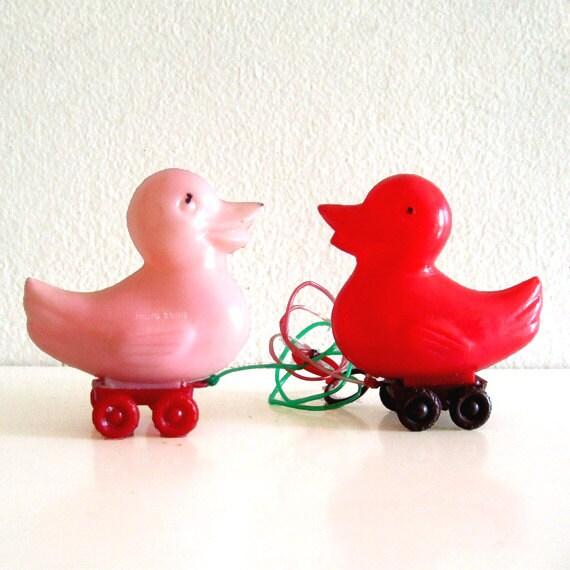 2 Vintage Pull Toys Duck Miniature Rattles