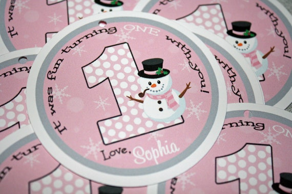 Snowman Girl Favor Tags / Snowman Gift Tag / Snowman Favor Tag / Winter Onederland Tag / Winter Onederland Party / Snowman Birthday Party