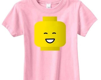 BIG smile minifig head tee shirt