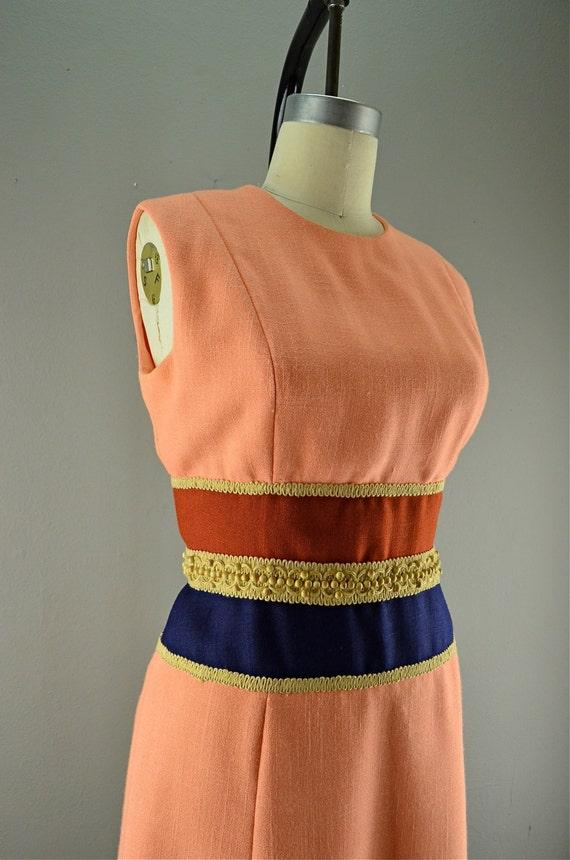 1960s linen sheath dress Vintage  color block dress  60s shift Size medium linen sundress peach rust navy