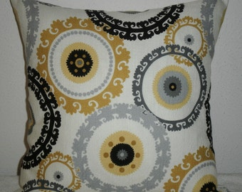 Decorative-Accent-Throw - Pillow Cover-Free US Shipping- 16 inch Suzani Black,Gold,Gray and Cream