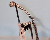 Miniature OOAK black and white Loopy  arm chair