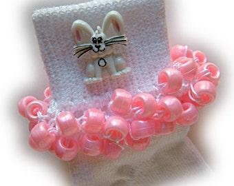 Kathy's Beaded Socks - White Bunny socks, button socks, girls socks, pink pearl socks, pony bead socks, bunny socks