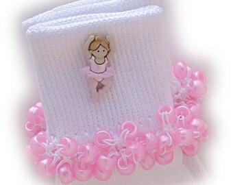 Kathy's Beaded Socks - Blowout Sale -  Blonde Tiny Ballerina socks, button socks, ballerina socks, blonde socks, pink socks, pony bead socks