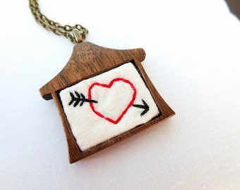 Heart Pendant - Hand Embroidered - Home is Where the Heart Is