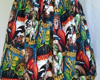 Women's Full Skirt Made From Monster Fabric - Frankenstein, The Mummy, Dracula, Werewolf Halloween