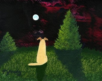 Yellow Lab Dog folk art PRINT of Todd Young painting TWILIGHT