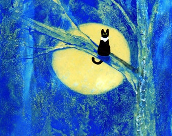 Tuxedo Black Cat folk art print by Todd Young Yellow Moon