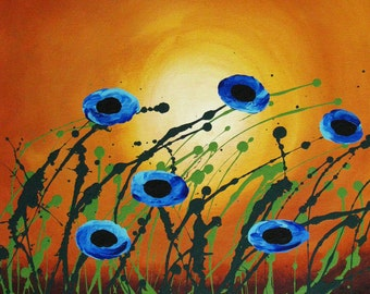 Blue poppy outsider Large Art PRINT of Todd Young painting Blue Poppies