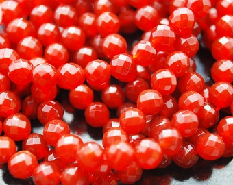 Full Strand, Carnelian Faceted Round Beads, 6MM