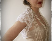 French Alechon Lace Bridal Shrug - Vintage Inspired Wedding Lace Bolero in White