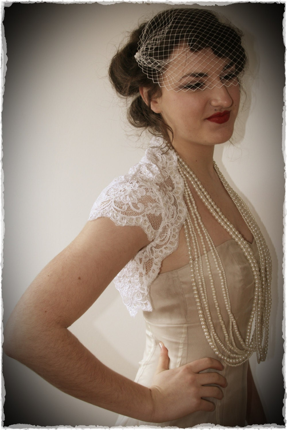 French alechon lace bridal shrug vintage inspired wedding for Lace shrugs for wedding dresses