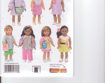 """Simplicity 1713 18""""  Doll Summer Clothes Pattern New and Uncut"""