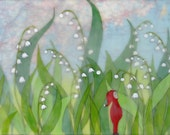 Print - Limited Edition - Gnome in the Lily Valley - mixed media, encaustic
