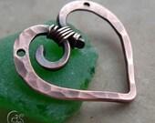 Copper Heart Pendant Charm Handmade