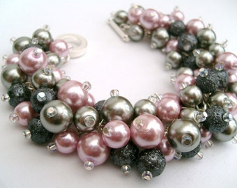 Bridesmaid Jewelry, Pink and Silver Gray Pearl Beaded Bracelet, Cluster Bracelet, Pearl Bracelet, Bridesmaid Gift - Jewelry By Kim Smith