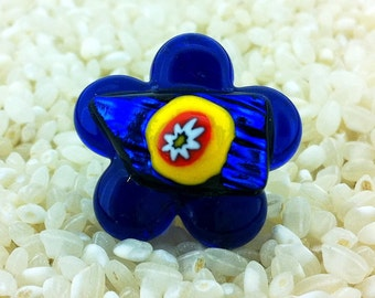 Fused Glass Flower Ring  - Adjustable Size - Choice of Gold or Silver Fittings -  Cobalt Blue