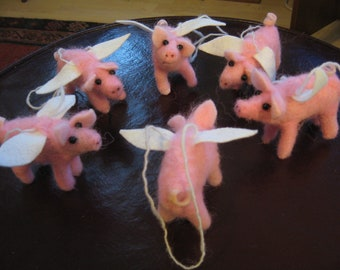 4 adorable needle felted flying pink piggies