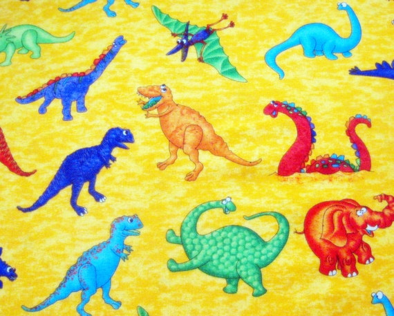 Dinosaurs uproar cotton fabric 30 inch long piece 5 6 yard for Purple dinosaur fabric