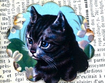 Gray Tabby Cat Stickers Cute Vintage
