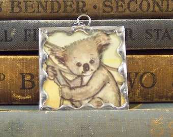 SALE - Koala Charm - Soldered Glass Charm - Koala Pendant with Vintage Illustration - Australian Animal - Koala Bear Jewelry