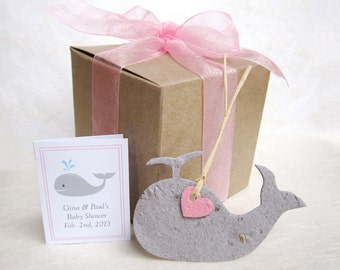 20 Whale Baby Shower Favors Kit - Plantable Pots - Plantable Flower Seed Paper