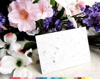20 Flower Seed Wedding Place Cards - 4 x 2.5 inches - Plantable Seating Cards Folded Tent Style or Flat - White or Special Colors