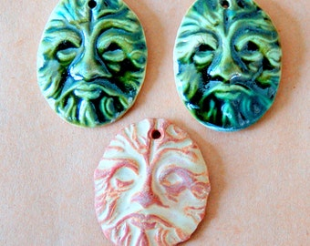 3 Ceramic Pendant Beads - Greenman Beads