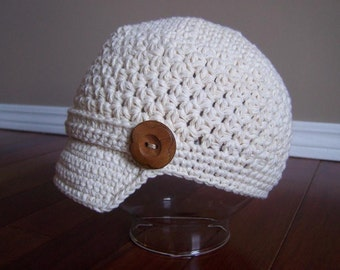 """Crocheted Newsboy """"The Stella """" Ivory Brimmed Hat Skater Band/Button Accent Choose Your Size and Color"""