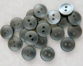 "2 Dozen Vintage 1970's Silvery Grey Plastic Buttons-9/16"" -VGY11"