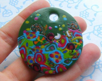 Fimo Polymer Clay Medallion - flowers in the garden