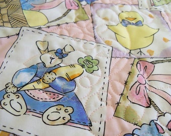 Baby quilt whole cloth crib blanket throw