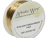 Artistic Wire 18-Gauge Non-Tarnish Brass Wire, 1/4-Pound 420463