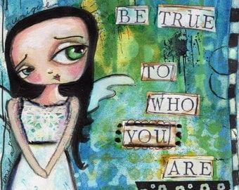 Big eyed Girl, Inspirational  Art, Children's Art, Wall art, Whimsical, cute nursery art PRINT