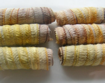 Turkey colored beads. You saw us first, here on Etsy. Fiber Bead, textile jewelry bead, artisan jewelry bead,  chunky tube barrel for dreads