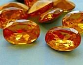 18x13mm Topaz Oval Vintage Glass Rhinestone Jewels  (12-6B-2)