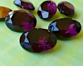 Two 18x13mm Purple Amethyst Oval Glass Rhinestone Jewels (35-3B-2)