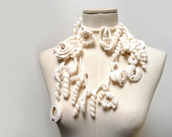 Crochet Lariat Necklace - Freeform Scarflette - Cream White Flowers and Leaves with Light Brown Glass Pearls - Made to Order - ZOE