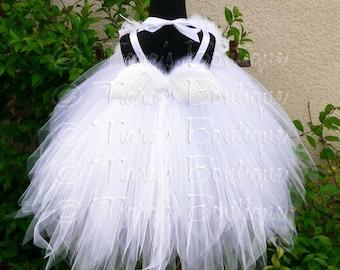 White Angel Tutu Dress Costume - Angelica - Custom Sewn Pixie Tutu Dress w/ Angel Wings - up to 24 mo - for Halloween, Valentine's Day