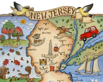 "New Jersey State Map Art Print 11"" x 14"""