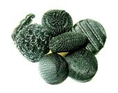 Antique Buttons x6 Fabric Crocheted Knotted Paris Backmark NBS Small
