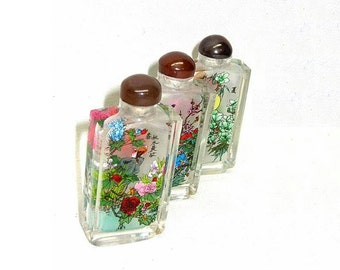 Vintage Reverse Painted Snuff Bottles x3 Oriental Asian Ca 1940s Flowers Birds Motif
