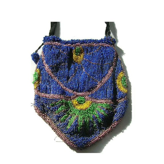 Antique Victorian Beaded Reticule Purse ca 1900 Greasy Beads T