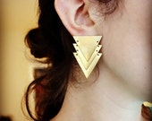 Handmade Art Deco Inspired Brass Triangle Dangle Studs