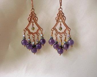 Amethyst and Copper Chandelier Earrings