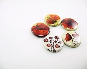 Poppy Flower Magnets, Fridge Magnetic Board, Gift for Her, Poppy Refrigerator Magnets, teacher gift, Wine Charms, Pins, Kitchen Decor, 1169