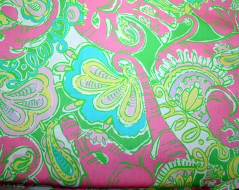 """Lilly Pulitzer fabric """"CHIN CHIN""""  100% cotton ,  18""""x18"""""""